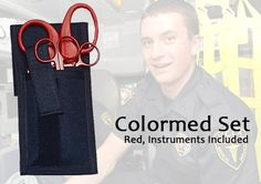 Colormed Set, w/ Instruments Red: The first and only completely color coordinated holster set for the EMS professional. Now carry all your first response instruments in striking coordinated colors! Not only will your EMS shears be easily identifiable in black, red or blue handles, but also all your other instruments too. Keeping all your instruments color coordinated is definitely a plus while working in emergency rooms, disaster situations or any multiple response emergency scene.