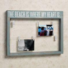 Heart at Beach Clothesline Wall Photo Frame