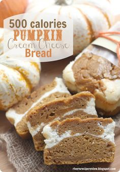 500 calorie Pumpkin Cream Cheese Bread : The Recipe Critic.  This is made with better ingredients like applesauce and wheat flour and is only 500 calories for the entire loaf!  And is so delicious!