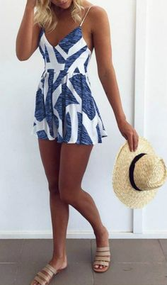 Spaghetti Strap V Neck Sleeveless Loose Romper