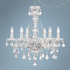 Anibal Clear Glass and Acrylic Plug-In Swag Chandelier