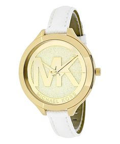 Take a look at this Michael Kors White & Gold Runway Leather-Strap Watch today!