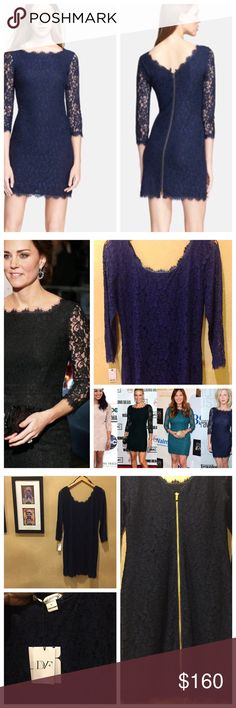 "NWT Diane von Furstenberg Zarita Lace Dress NWT Diane von Furstenberg Zarita Lace Dress; worn by Duchess Kate & many other celebs in various colors & versions; DvF calls it the ""ultimate party dress;"" Size 14; color Midnight; Scalloped eyelash fringe traces every edge of an allover-lace dress. The deep V-back points to an exposed full-length zipper with unexpected edge; 36"" length; Three-quarter sleeves; Lining: 88% rayon, 12% silk; 70% rayon, 30% nylon; Dry clean; according to DvF runs…"