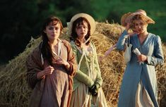 """This photo is from the movie """"Pride and Prejudice"""" based off of Jane Austen's novel. Jane is wearing a pelisse. The pelisse has a high empire waistline, is floor length, and is an outdoor coat."""