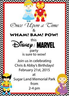Marvel and Disney Party, Princess and Superhero Party invitation