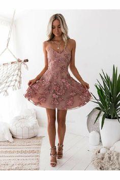 Custom Made populares Chiffon dama de honra vestidos, vestido de festa rosa, vestido de festa a linha - ☀️Hoco dresses☀️ - Floral Homecoming Dresses, Blush Prom Dress, Hoco Dresses, Tulle Prom Dress, Sexy Dresses, Party Dress, Elegant Dresses, Summer Dresses, Wedding Dresses