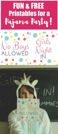 Who's ready for a fun Grown Up Pajama Party for the Ladies? Grab those unicorn onesies, those no boys allowed signs and your cell phones for loads of fun pictures because this will be a night to remember! This pajama party includes everything from photo booth printables to food ideas and table decor.