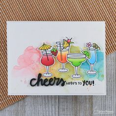 Cheers! It's Day 2 of the @newtonsnook July Release! 🍹💕This card was created with the new Cocktail Mixers stamp and die set that will be available July 14! #newtonsnook #chameleonpens #rangerink #distressoxide