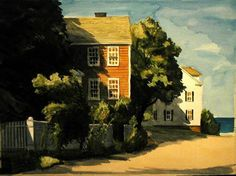 """Marblehead, Mass. """"Shadows are telling and mysterious, aren't they?"""" says Ken Maugle about his painting.  """"Happy endings"""" by Ken Maugle. http://luhambo.wordpress.com/2013/09/18/happy-endings/"""