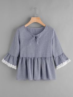 Gingham Bell Sleeve Lace Trim Smock TopFor Women-romwe