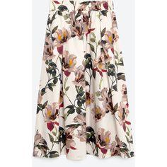 Zara Floral Print Midi Skirt (1.558.770 VND) ❤ liked on Polyvore featuring skirts, zara, floral, midi skirt, nude, flower print skirt, mid calf skirts, zara skirts and floral print skirt