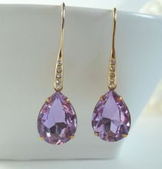 Lilac Purple Rhinestone Earrings  #etsymnt #spiritualearrings