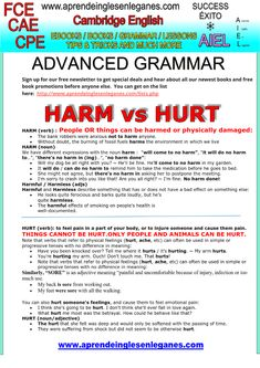HARM vs HURT Confusing words in English FCE, CAE, CPE Advanced English grammar Multiple choice open cloze key word transformation word formation