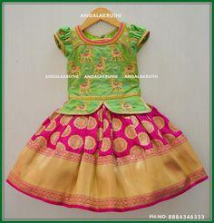 Kids pattu pavada designs Brown Things brown color around eyes Kids Dress Wear, Kids Gown, Baby Dress, Kids Wear, Frocks For Girls, Dresses Kids Girl, Kids Outfits, Baby Lehenga, Kids Lehenga