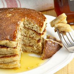 My Cinnamon Applesauce Pancakes are light and fluffy, slightly sweet with applesauce flavor, and have just a bit of cinnamon spice.