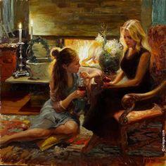 """""""HEART-TO-HEART TALK"""", 90x90 cm, oil on canvas, artist Vladimir Volegov"""
