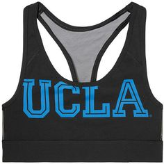 PINK University of California Los Angeles Ultimate Racerback Bra ($33) ❤ liked on Polyvore featuring activewear, sports bras, black, bras, racer back sports bra, pink sports bra, sheer sports bra, pink sportswear and mesh sports bra