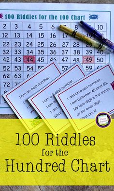 Build math vocabulary and concepts with this set of 100 riddle task cards for the numbers 1-100. Great spiraled practice for grades one and two! Also includes games and an  independent activity. https://www.teacherspayteachers.com/Product/First-Grade-and-Second-Grade-Math100-Riddle-Cards-for-the-Hundred-Chart-191803