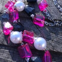 """Beautiful pink glass beads, faux pearls & faceted black beads all attached to a silver plated chain make this Texas chic! Each bead is wired by hand. Only one available so truly unique! 30"""""""