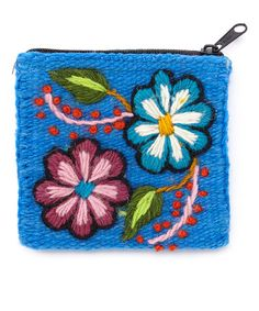 Another great find on #zulily! Blue Floral Embroidered Wool Andes Coin Purse #zulilyfinds