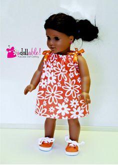 American made Girl Doll Clothes, 18 inch Girl Doll Clothing, Orange/White Print Drawstring Dress made to fit like American girl doll clothes