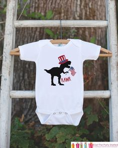 74ce882b523c Kids 4th of July Shirt - Uncle Sam Dinosaur Onepiece or Tshirt - Dino 4th  of July Shirt Baby Girl or Boy, Youth, Toddler - Independence