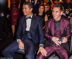 Ronaldo and Messi (right) spoke positively about each other after the former was crowned the winner