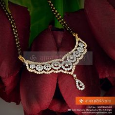 Attractive studded gold diamond #mangalsutra