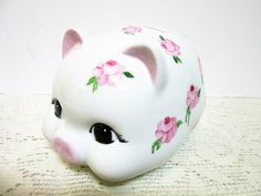 Piggy Bank For Girls Hand Painted Pink Handpainted Porcelain Ceramic Pottery by PorcelainChinaArt on Etsy