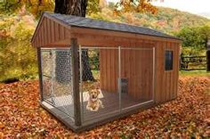 "This dog house could work perfectly for us! I think I would like to attach the covered ""patio"" area to part of the house (like the back or the side shed). Then they could get in and out during the day when we're not home."