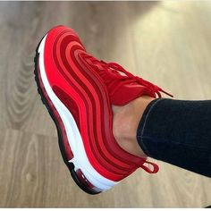 Brand new, authentic, pair of Nike Air Max 97 Gym Red Sizing is Womens === Shipping Info === Shipping to UK = business days Shipping to. Sneakers Mode, Cute Sneakers, Sneakers Fashion, Fashion Shoes, Shoes Sneakers, Red Sneakers Outfit, Sneaker Heels, Burgundy Sneakers, Mcqueen Sneakers