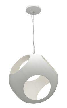 Retro 'Callum' Pendant Light in White Metal 40cm