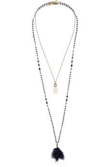 Isabel Marant Set of two gold-tone, bone, feather and crystal necklaces | NET-A-PORTER