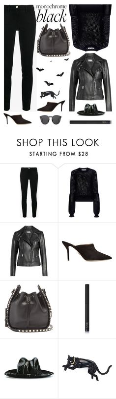 """""""Black"""" by sukia ❤ liked on Polyvore featuring Frame, McQ by Alexander McQueen, Karl Lagerfeld, Paul Andrew, Valentino, NARS Cosmetics, SuperDuper Hats, Alexis Bittar and Illesteva"""