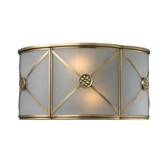 Elk Lighting Sconce Wall Light with Beige / Cream Glass in Brushed Brass Finish | 22000/2 | Destination Lighting