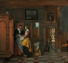 Interior with Women beside a Linen Cupboard, Pieter de Hooch, 1663. Rijksmuseum.