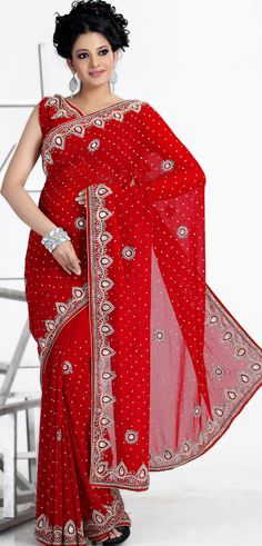 Red Georgette #Indian #Bridal #Saree Blouse   @ $140.13