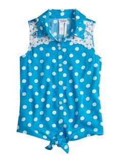 Dot & Lace Tie Front Shirt   Girls Shirts Clothes   Shop Justice