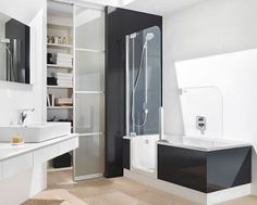 Cool Tub Shower Combo With White Wall Paint Color In Small Bathroom Interior And Fantastic Washbasin Also Wooden Floor And Large Cabinet Near Wall Mounted Mirror Walk In Tub Shower, Bathtub Shower Combo, Bathroom Tub Shower, Laundry In Bathroom, Bath Tub, Bathroom Black, Bathroom Small, Bathroom Vanities, Bath Room