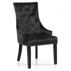 Get the luxury look in your home with the Ascot Dining Chair Black Velvet - perfect for the dining room or lounge as well as the bedroom or dressing room.