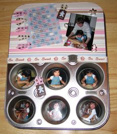 Adorable way to add decor to the kitchen using a muffin tin and pics of cooking memories, definitely trying this!