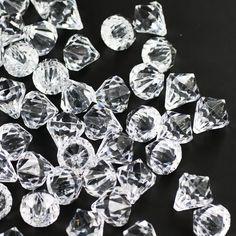 Clear Acrylic Medium Diamonds Decorative Gems - 3 Cups