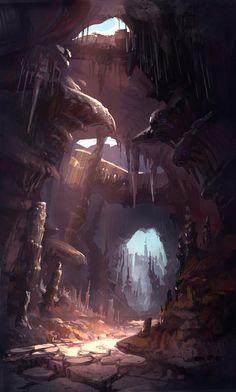 ideas for landscape concept art caves Landscape Concept, Fantasy Landscape, Landscape Art, Desert Landscape, Impressionist Landscape, Watercolor Landscape, Landscape Paintings, Fantasy Magic, Fantasy World