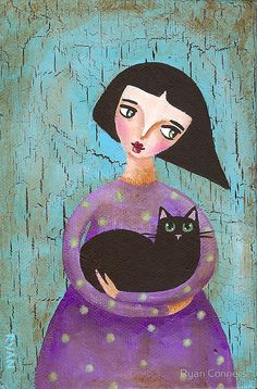 Celia and Cecil Cat by Ryan Conners Ryan Conner, Picasso Art, Watercolor Cat, Naive Art, Custom Posters, Figure Drawing, Cat Art, Female Art, Folk Art