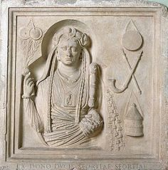 Votive relief depicting Cybele and objects of the Cult of Cybele