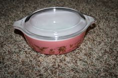 RARE! Pyrex 471 Pink Early American Americana 22Kt Casserole With Lid #Pyrex #casserole