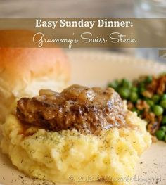 Easy Sunday Dinner Kids will Love- Grammy& Swiss Steak at ReMarkable Home - Recipes - Easy Sunday Dinner, Sunday Dinner Recipes, Sunday Dinners, Sunday Suppers, Dinner Ideas, Weeknight Dinners, Weekday Meals, Easy Dinners, Beef Dishes