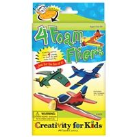 Foam fliers kit by Creativity for Kids®. Kit builds 4 foam fliers with 7 inch wingspan. Comes with acrylic paint and paint brushes to decorate flying planes and 4 plastic nose clips.