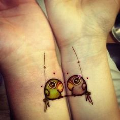 2 birds best friend tattoos - This tattoo is quite funny actually, despite the hearts, I just don't see these 2 birds having any attachment or love at all. #TattooModels #tattoo