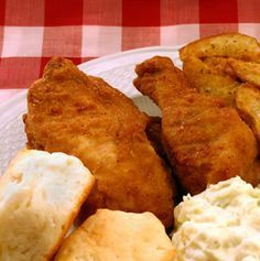 Southern Fried Chicken Recipe - this is really, really good.  Cooked it in my electric frypan at 325-350 for 20 to 25 minutes per side.  Used 1 cup flour, 1 egg, 1/2 cup cream (didn't have any milk so added a little water to the cream) with 2 bone in breasts and 2 bone in leg quarters.